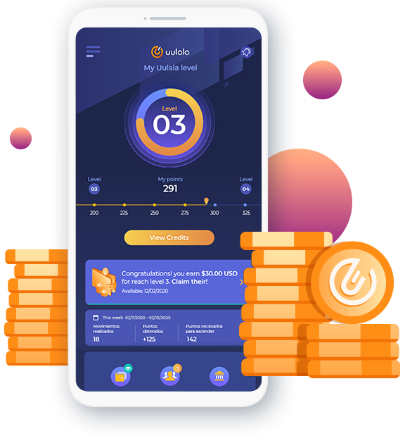 Cell phone with credit offier and Uulala tokens stacked