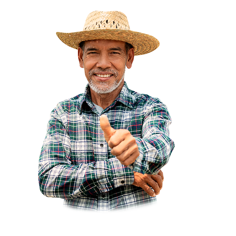 Under banked latino farm worker giving thumbs up and smiling